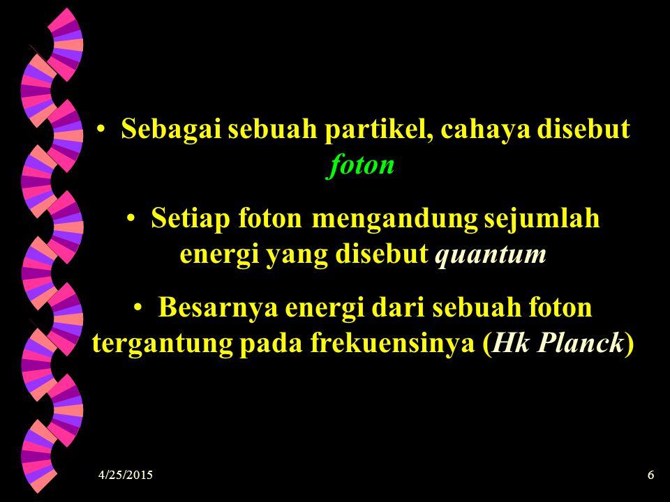 Sebagai sebuah partikel, cahaya disebut foton