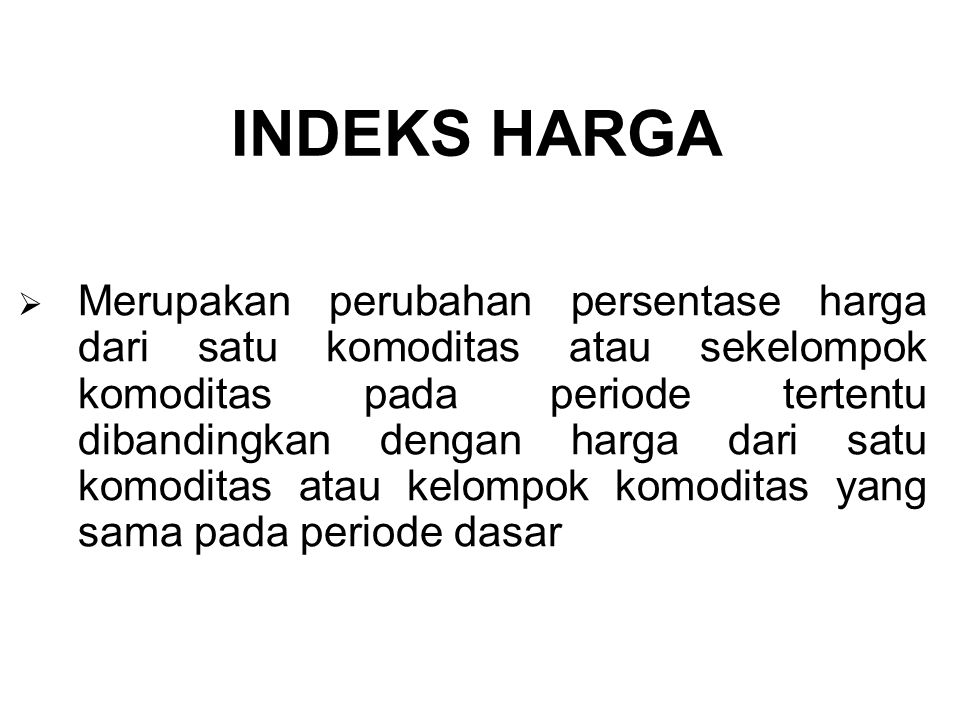 INDEKS HARGA