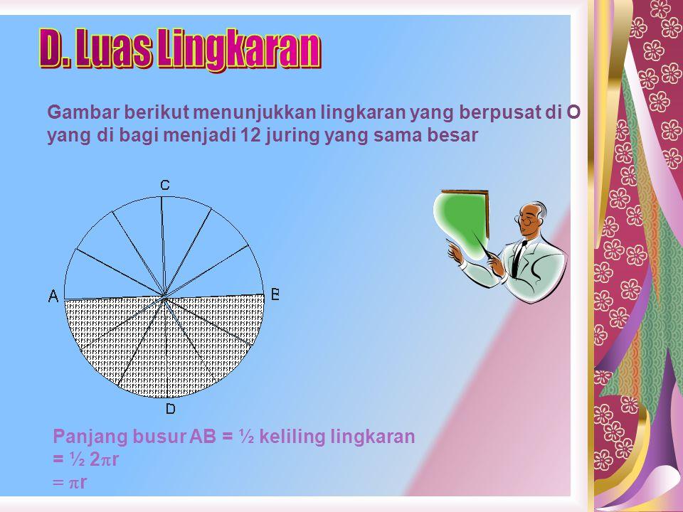 D. Luas Lingkaran Gambar berikut menunjukkan lingkaran yang berpusat di O yang di bagi menjadi 12 juring yang sama besar.