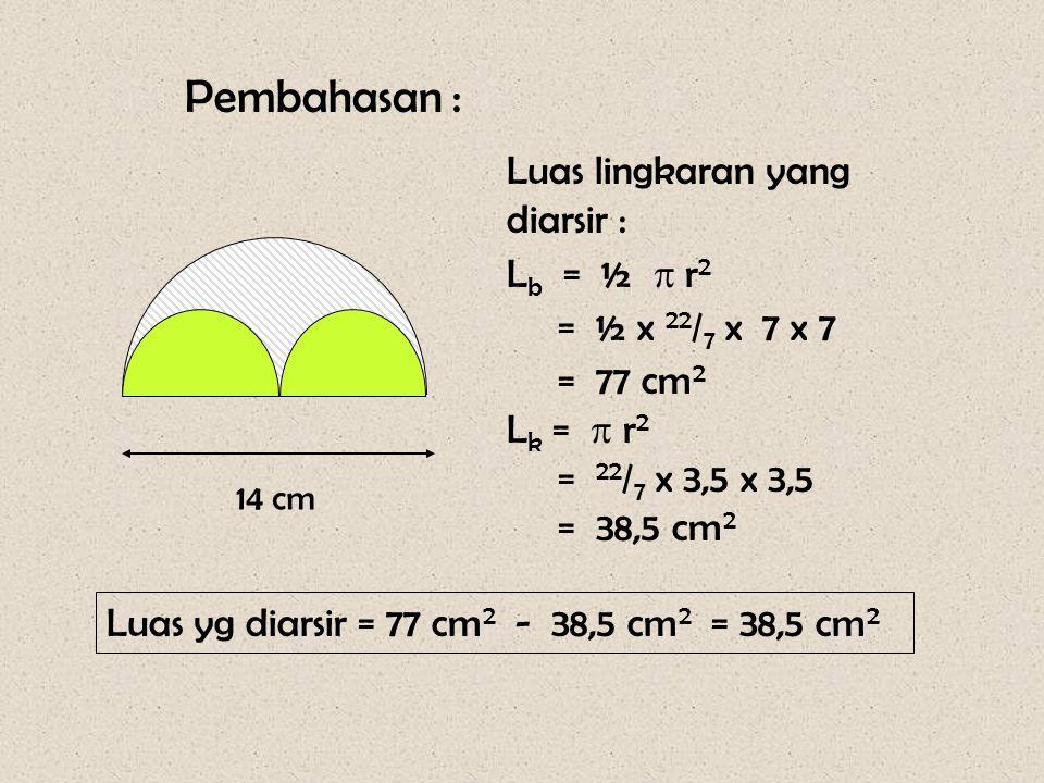 Pembahasan : Luas lingkaran yang diarsir : Lb = ½  r2