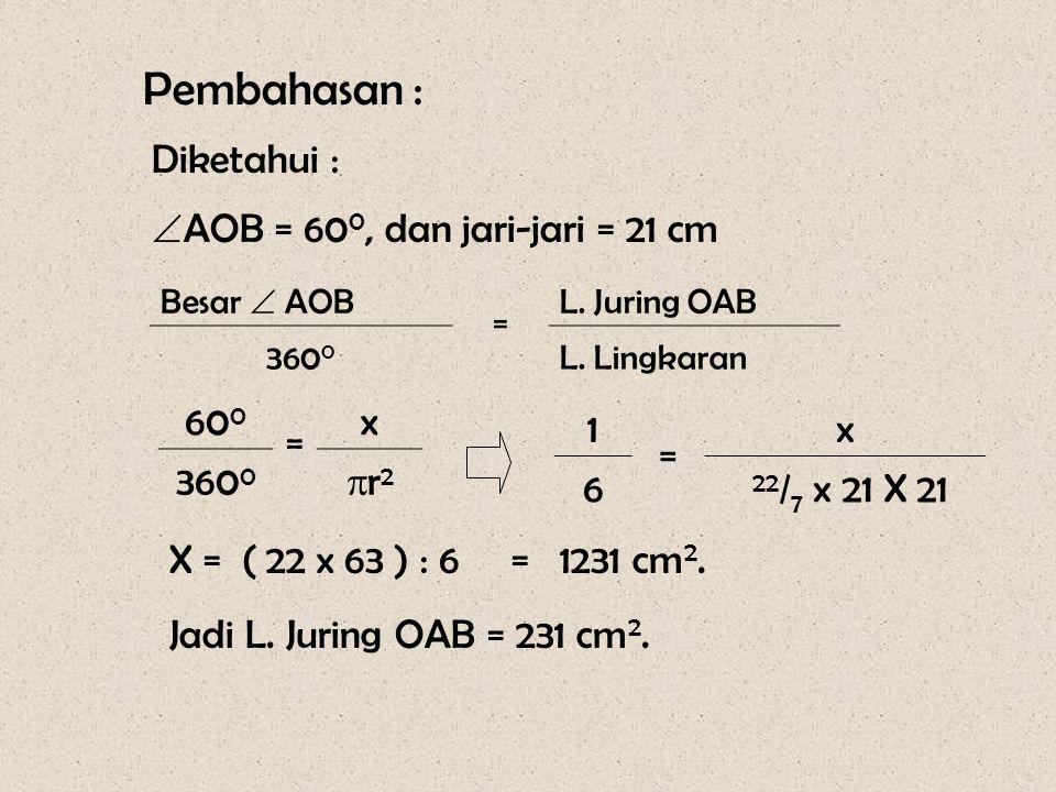 Pembahasan : Diketahui : AOB = 600, dan jari-jari = 21 cm 600 = x