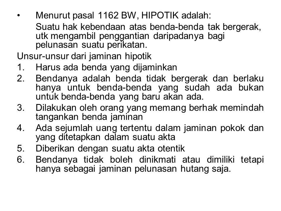 Menurut pasal 1162 BW, HIPOTIK adalah: