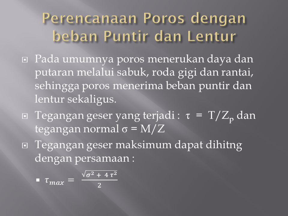 Perencanaan Poros dengan beban Puntir dan Lentur
