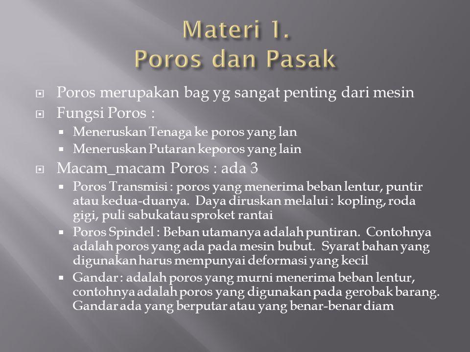 Materi 1. Poros dan Pasak Poros merupakan bag yg sangat penting dari mesin. Fungsi Poros : Meneruskan Tenaga ke poros yang lan.