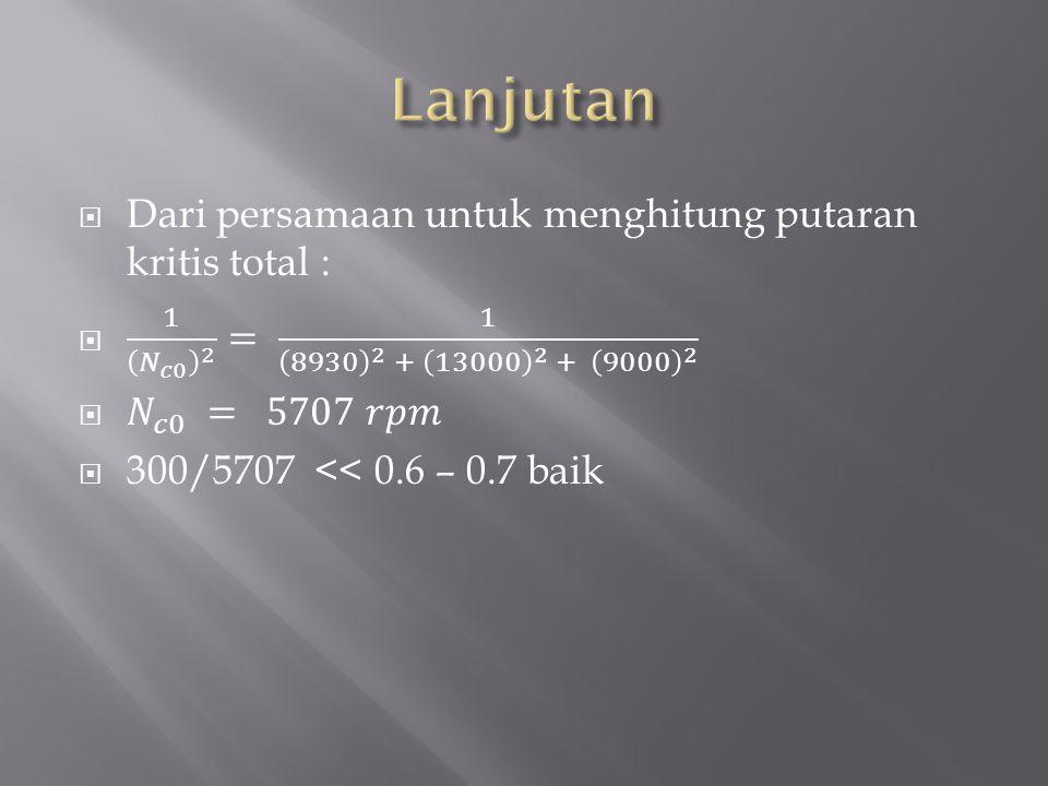 Lanjutan Dari persamaan untuk menghitung putaran kritis total :