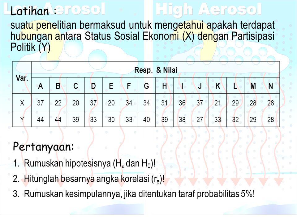 Latihan : suatu penelitian bermaksud untuk mengetahui apakah terdapat hubungan antara Status Sosial Ekonomi (X) dengan Partisipasi Politik (Y)