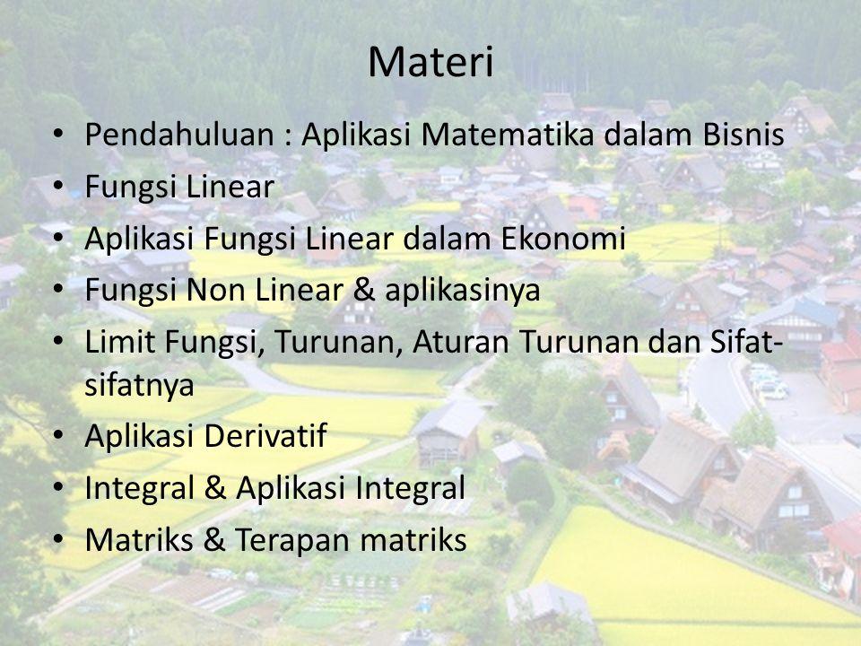 Materi Pendahuluan : Aplikasi Matematika dalam Bisnis Fungsi Linear