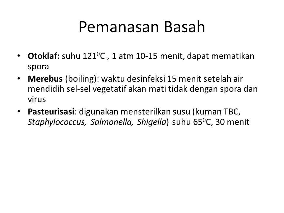 Pemanasan Basah Otoklaf: suhu 1210C , 1 atm 10-15 menit, dapat mematikan spora.