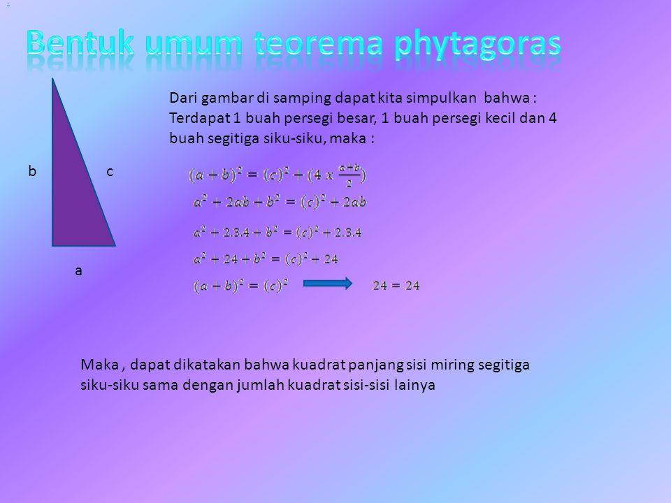Bentuk umum teorema phytagoras