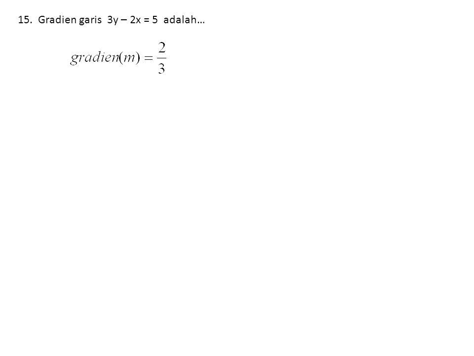 15. Gradien garis 3y – 2x = 5 adalah…