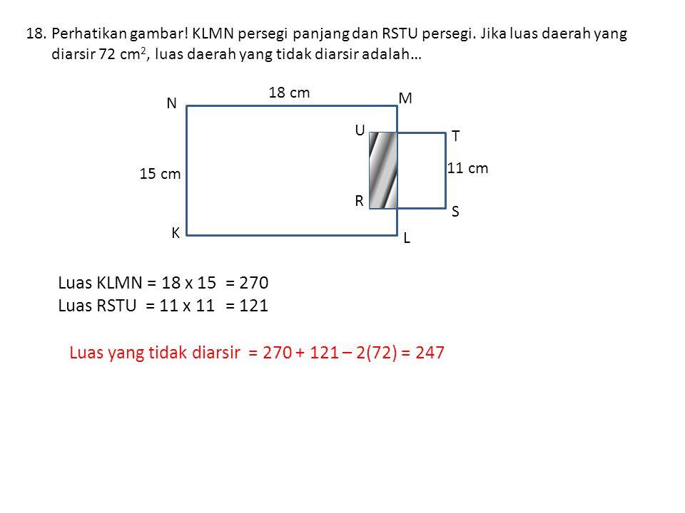 Luas yang tidak diarsir = 270 + 121 – 2(72) = 247