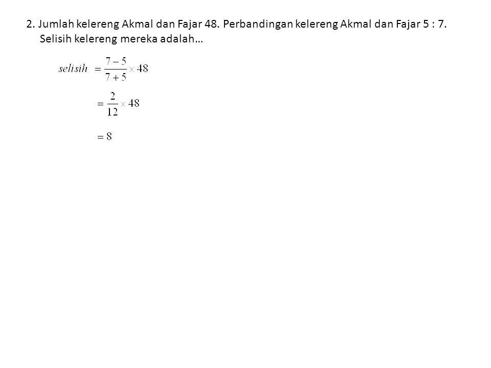2. Jumlah kelereng Akmal dan Fajar 48