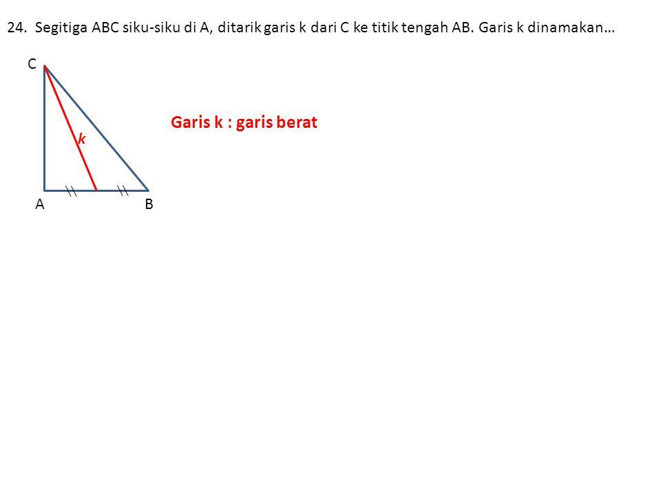 24. Segitiga ABC siku-siku di A, ditarik garis k dari C ke titik tengah AB. Garis k dinamakan…