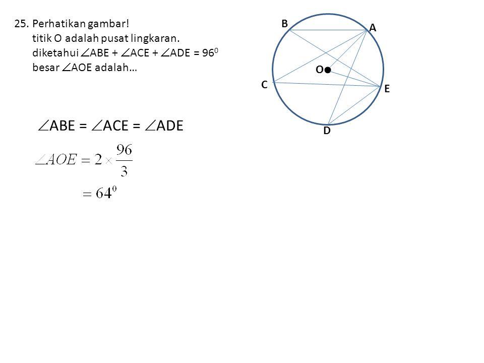 • ABE = ACE = ADE Perhatikan gambar!