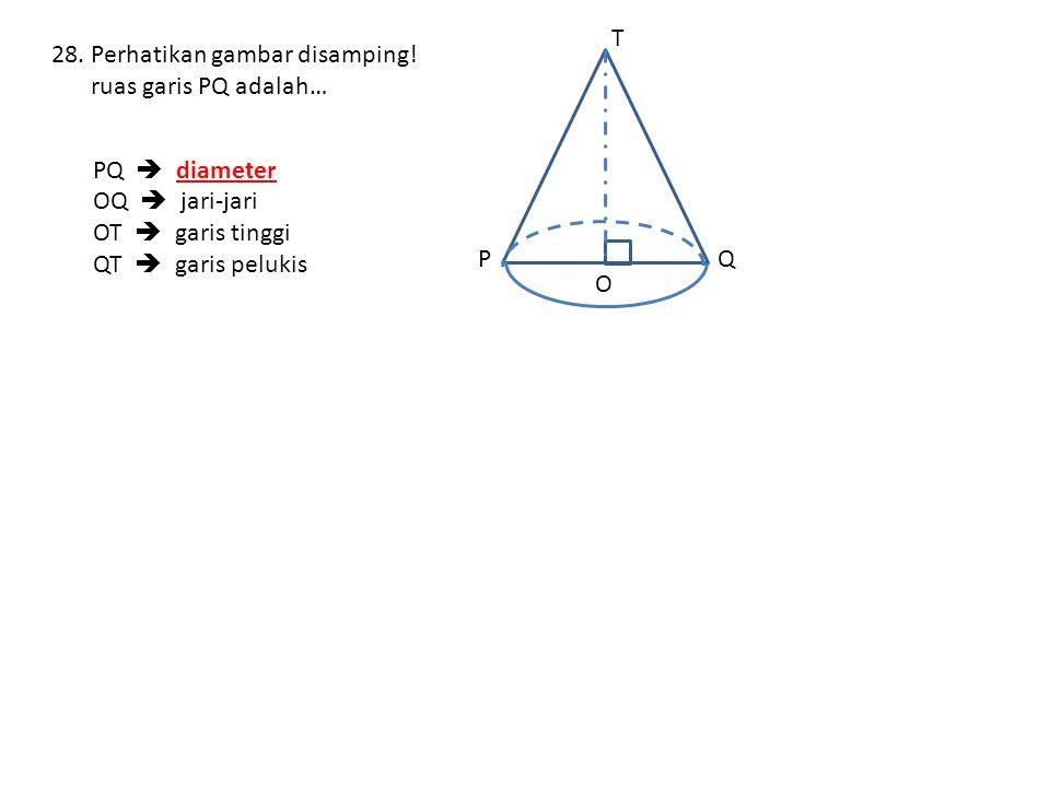 P Q. T. O. Perhatikan gambar disamping! ruas garis PQ adalah… PQ  diameter. OQ  jari-jari.