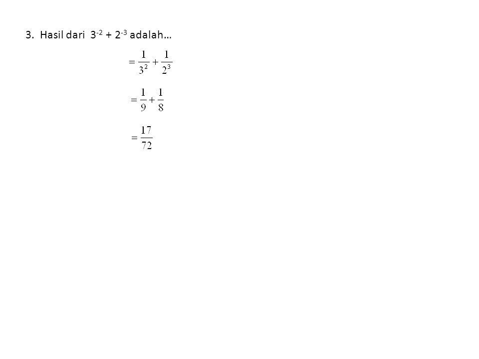 3. Hasil dari 3-2 + 2-3 adalah…