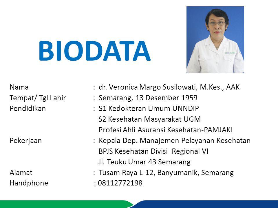 BIodata Nama : dr. Veronica Margo Susilowati, M.Kes., AAK