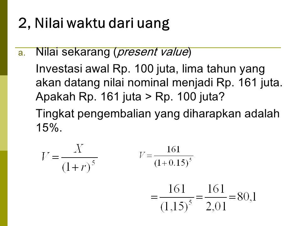 2, Nilai waktu dari uang Nilai sekarang (present value)