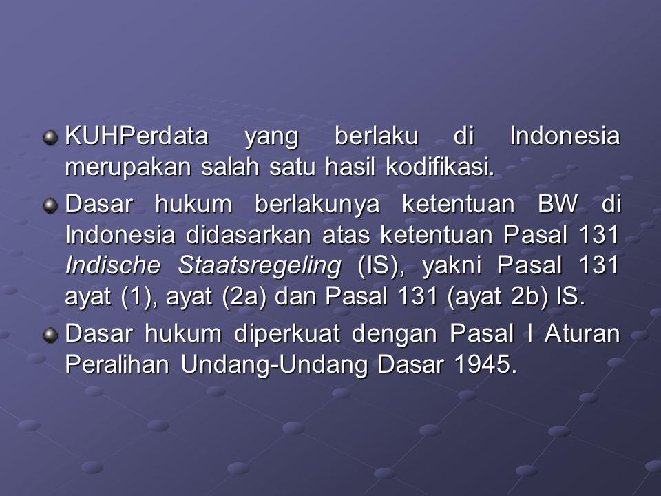 KUHPerdata yang berlaku di Indonesia merupakan salah satu hasil kodifikasi.