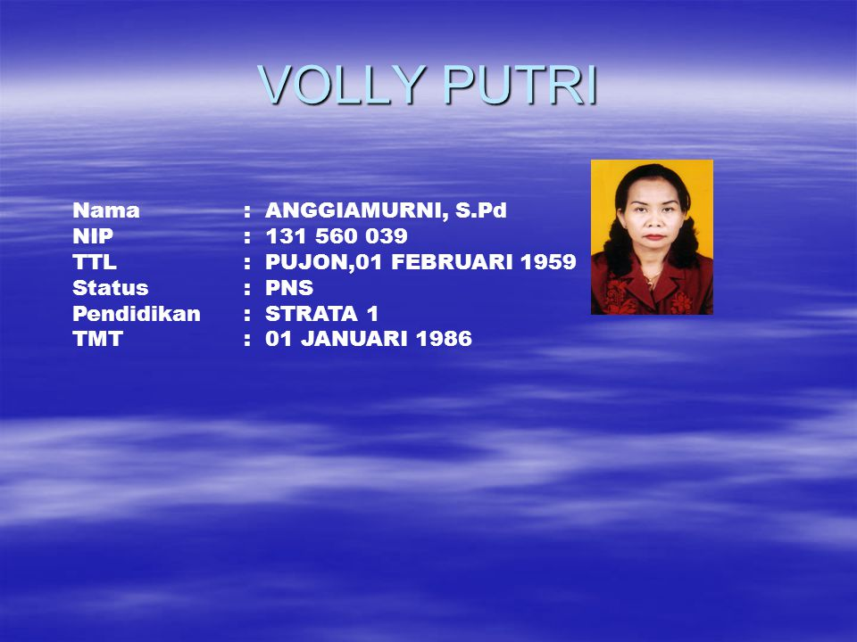 VOLLY PUTRI Nama : ANGGIAMURNI, S.Pd NIP : 131 560 039