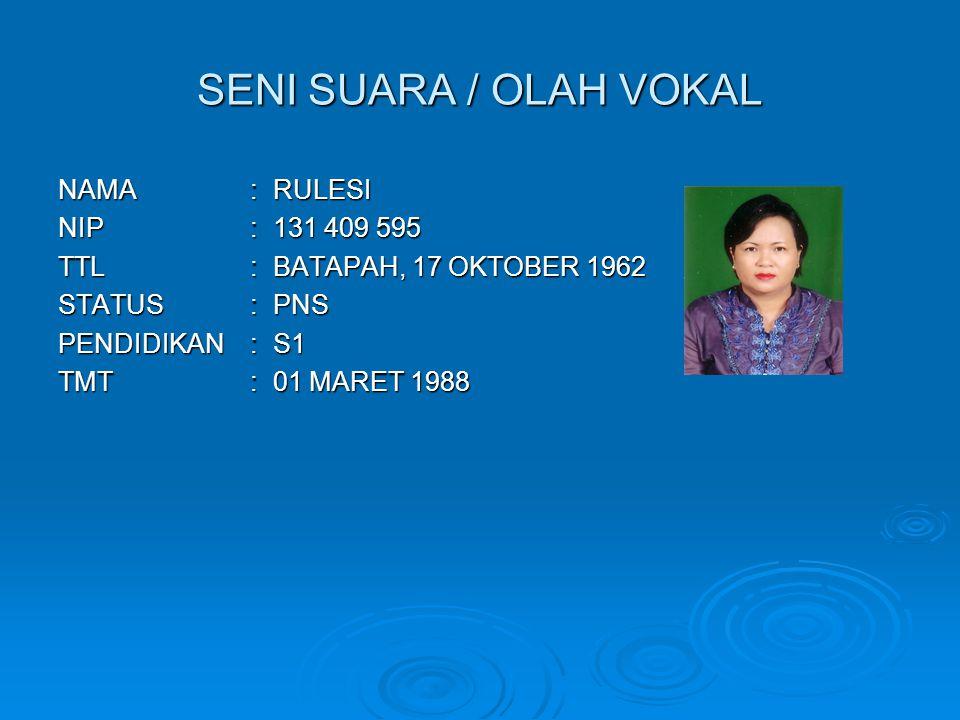 SENI SUARA / OLAH VOKAL NAMA : RULESI NIP : 131 409 595