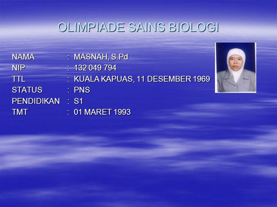 OLIMPIADE SAINS BIOLOGI