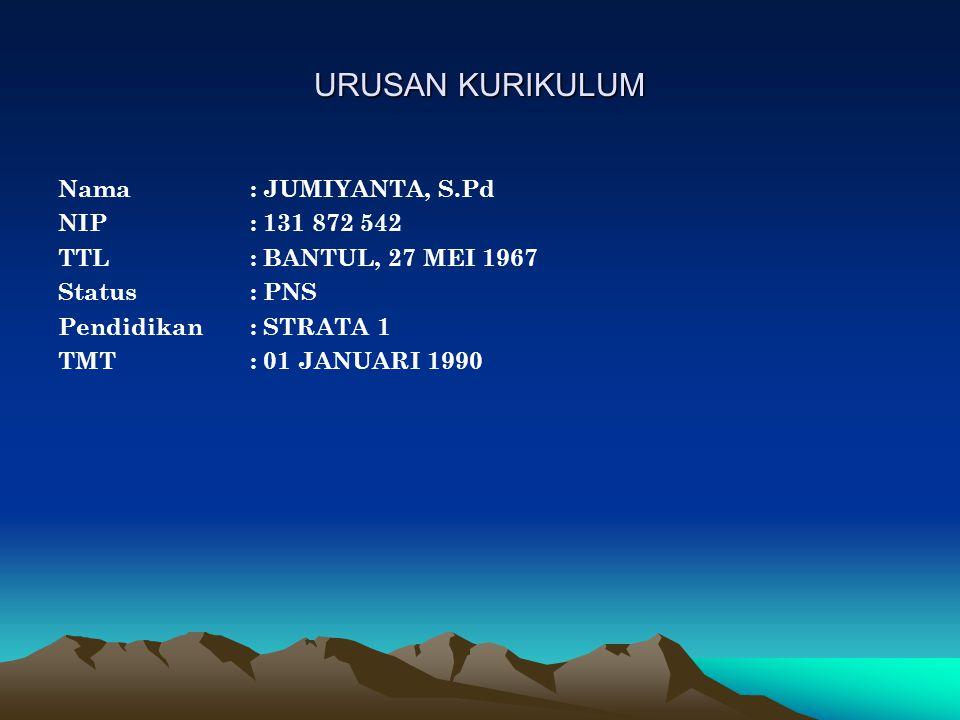 URUSAN KURIKULUM Nama : JUMIYANTA, S.Pd NIP : 131 872 542
