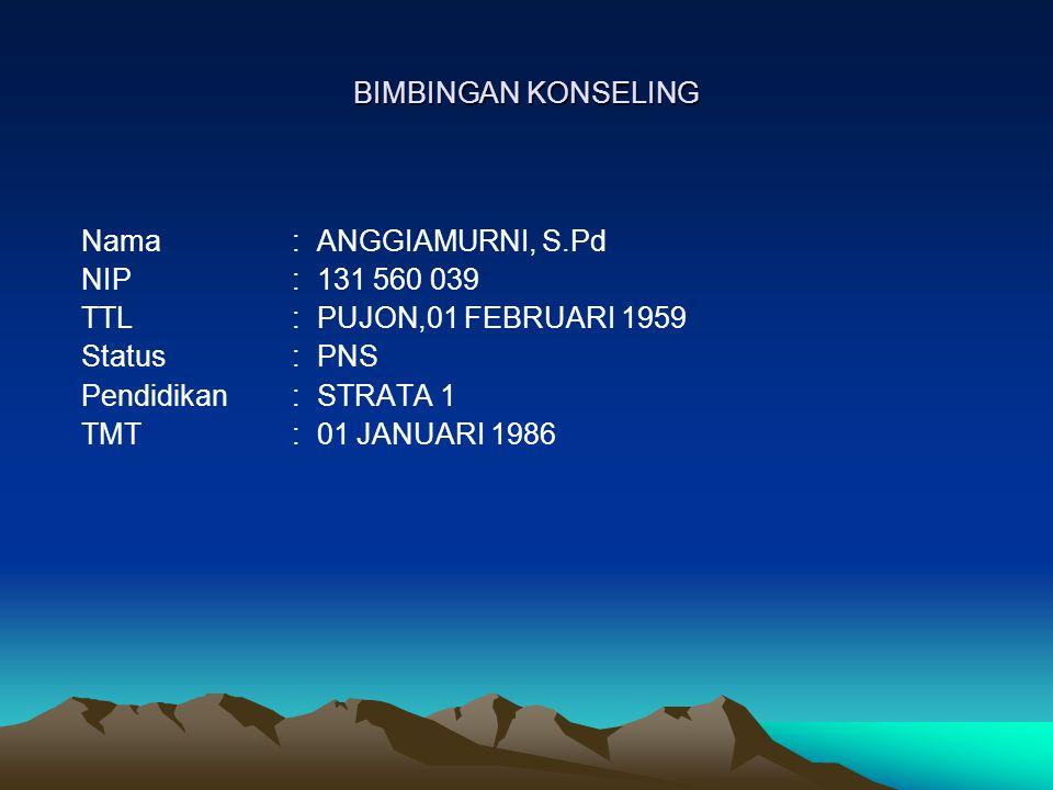 BIMBINGAN KONSELING Nama : ANGGIAMURNI, S.Pd. NIP : 131 560 039. TTL : PUJON,01 FEBRUARI 1959.