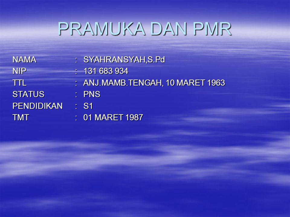 PRAMUKA DAN PMR NAMA : SYAHRANSYAH,S.Pd NIP : 131 683 934