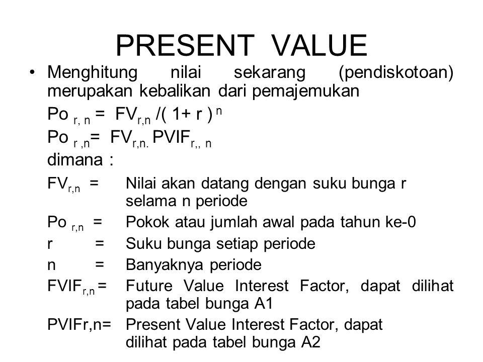 PRESENT VALUE Menghitung nilai sekarang (pendiskotoan) merupakan kebalikan dari pemajemukan. Po r, n = FVr,n /( 1+ r ) n.