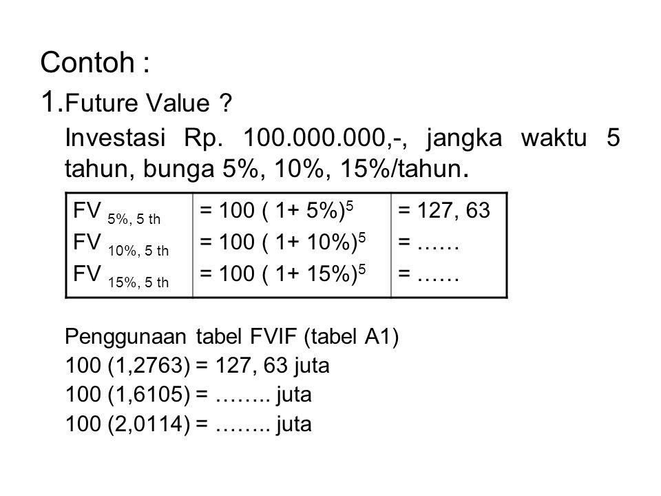 Contoh : 1.Future Value Investasi Rp. 100.000.000,-, jangka waktu 5 tahun, bunga 5%, 10%, 15%/tahun.
