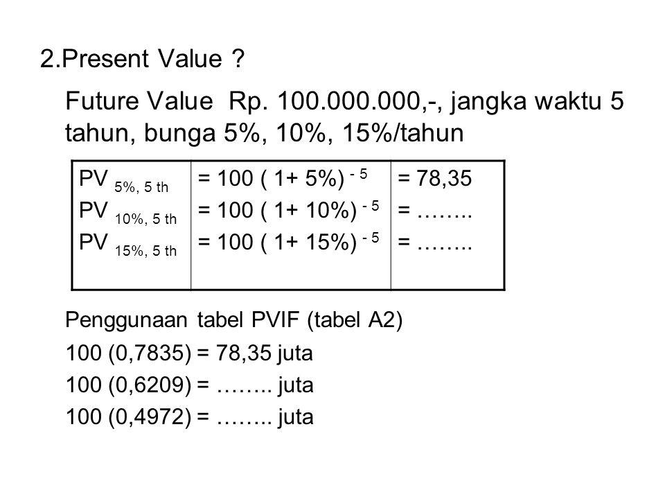 2.Present Value Future Value Rp. 100.000.000,-, jangka waktu 5 tahun, bunga 5%, 10%, 15%/tahun. Penggunaan tabel PVIF (tabel A2)