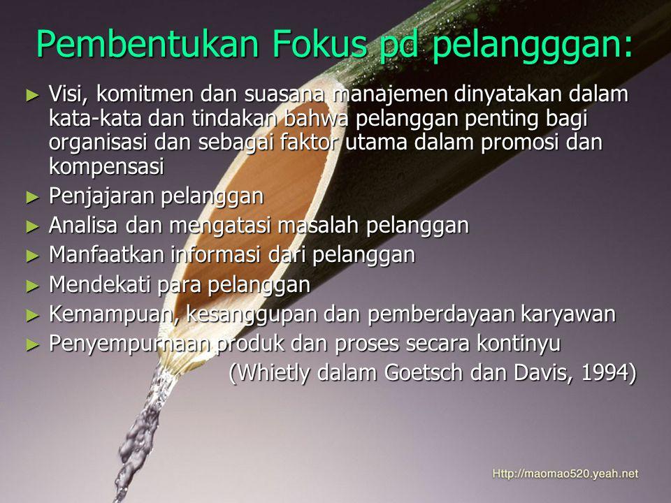 Pembentukan Fokus pd pelangggan: