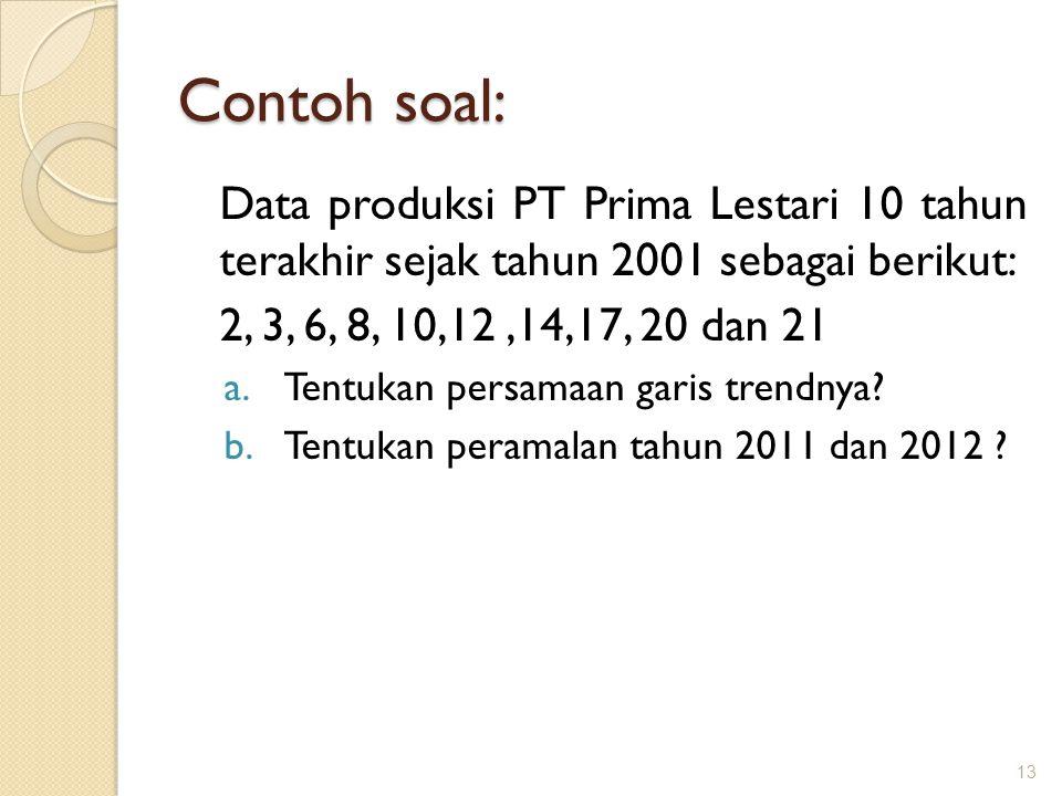 Contoh soal: Data produksi PT Prima Lestari 10 tahun terakhir sejak tahun 2001 sebagai berikut: 2, 3, 6, 8, 10,12 ,14,17, 20 dan 21.