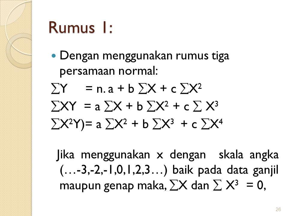 Rumus 1: Dengan menggunakan rumus tiga persamaan normal: