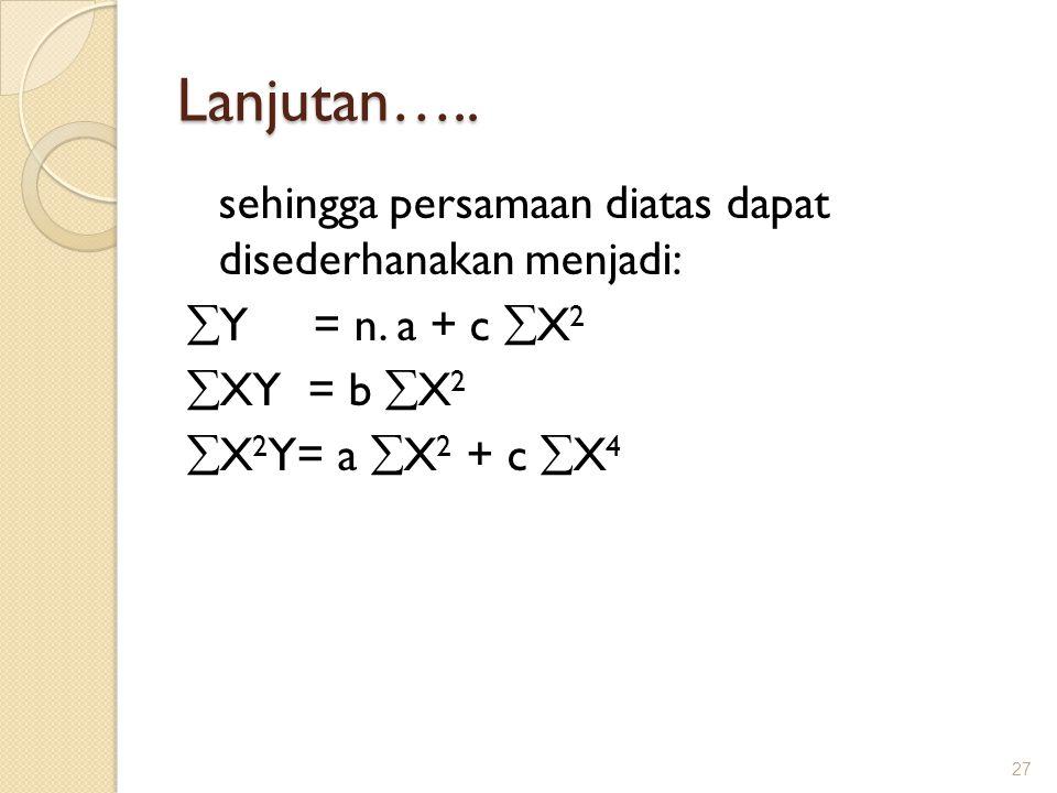Lanjutan….. sehingga persamaan diatas dapat disederhanakan menjadi: Y = n.