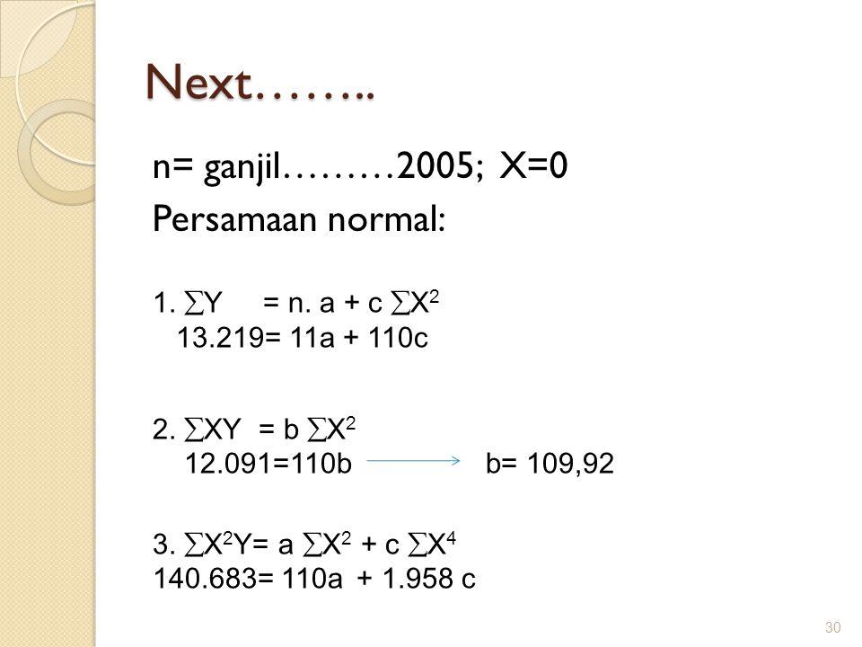 Next…….. n= ganjil………2005; X=0 Persamaan normal: 1. Y = n. a + c X2