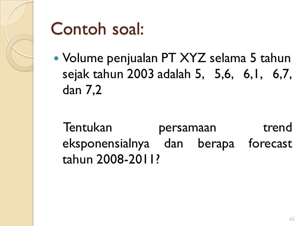 Contoh soal: Volume penjualan PT XYZ selama 5 tahun sejak tahun 2003 adalah 5, 5,6, 6,1, 6,7, dan 7,2.