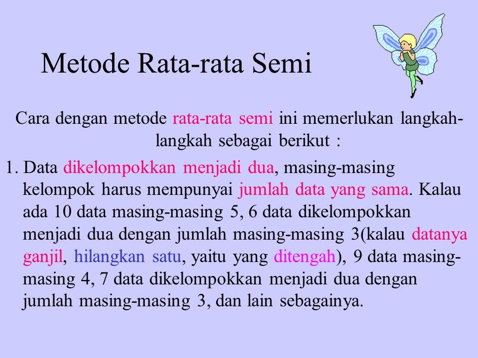 Metode Rata-rata Semi Cara dengan metode rata-rata semi ini memerlukan langkah-langkah sebagai berikut :