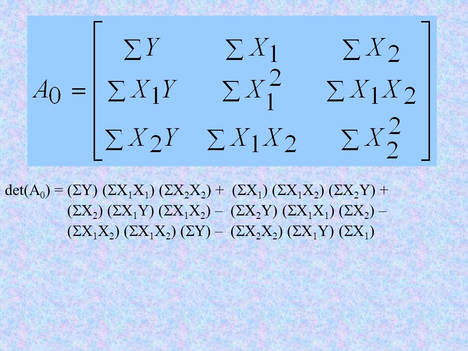 det(A0) = (Y) (X1X1) (X2X2) + (X1) (X1X2) (X2Y) +