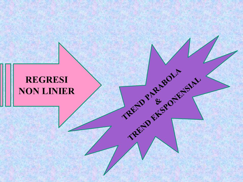 REGRESI NON LINIER TREND PARABOLA TREND EKSPONENSIAL &