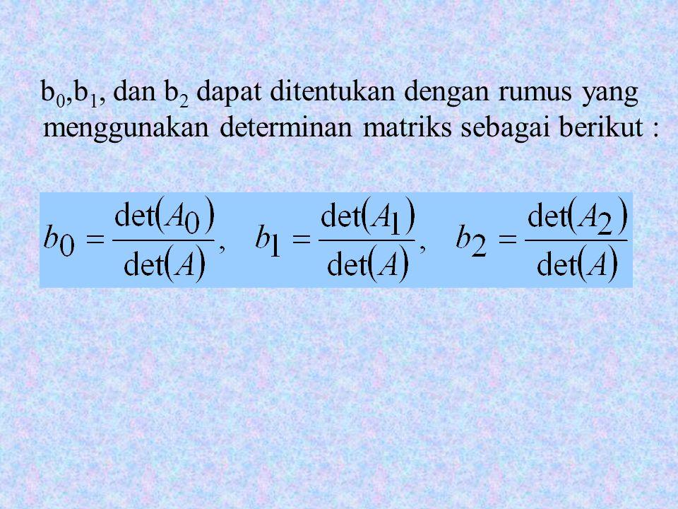 b0,b1, dan b2 dapat ditentukan dengan rumus yang menggunakan determinan matriks sebagai berikut :