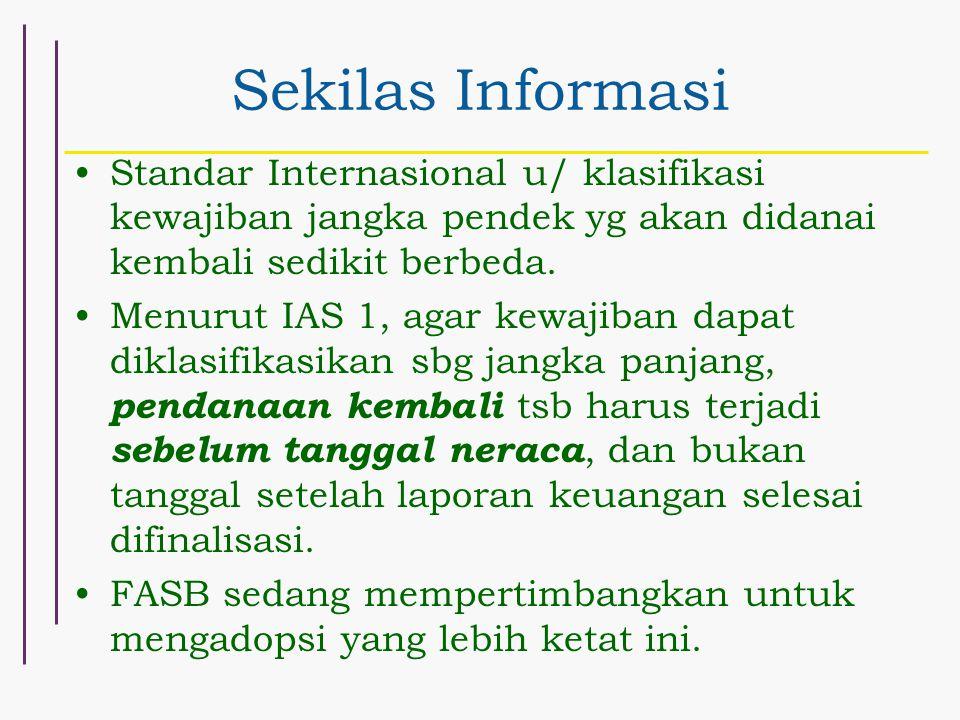 Sekilas Informasi Standar Internasional u/ klasifikasi kewajiban jangka pendek yg akan didanai kembali sedikit berbeda.