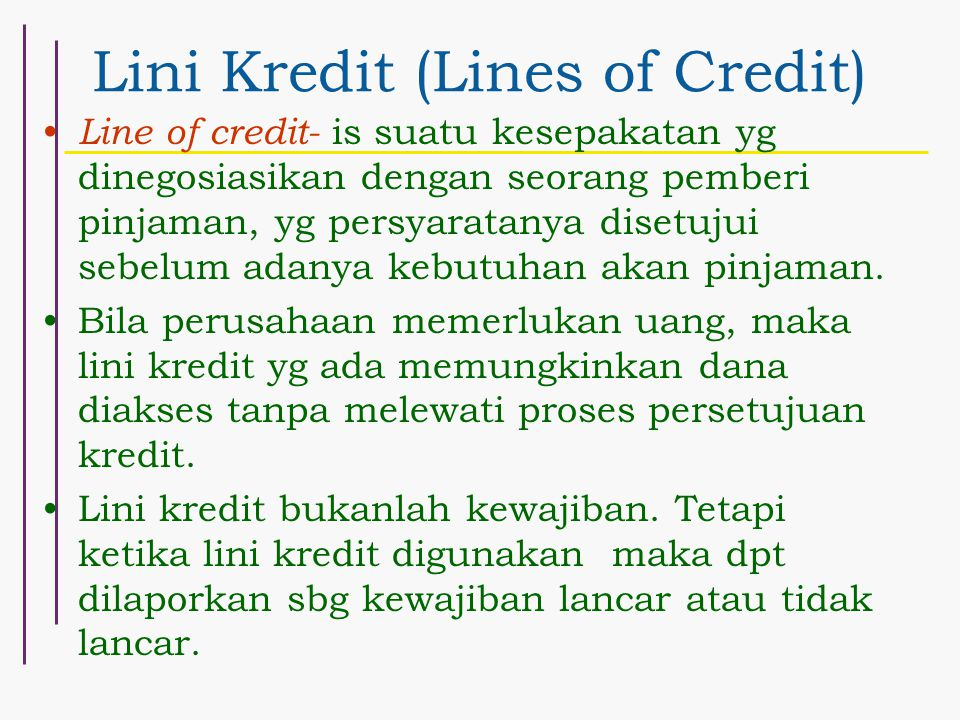 Lini Kredit (Lines of Credit)