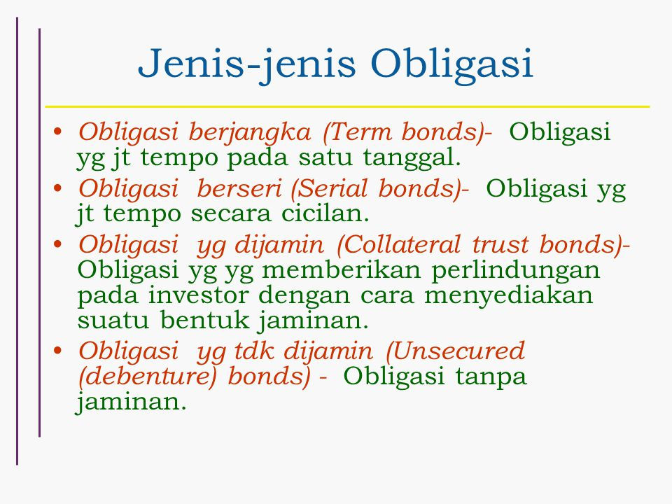 Jenis-jenis Obligasi Obligasi berjangka (Term bonds)- Obligasi yg jt tempo pada satu tanggal.