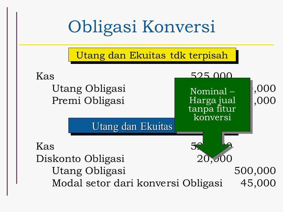 Obligasi Konversi Utang dan Ekuitas Terpisah Kas 525,000
