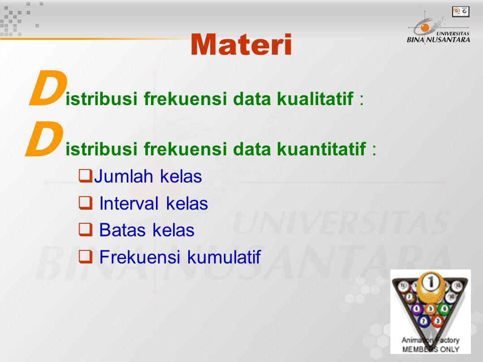 D D Materi istribusi frekuensi data kualitatif :