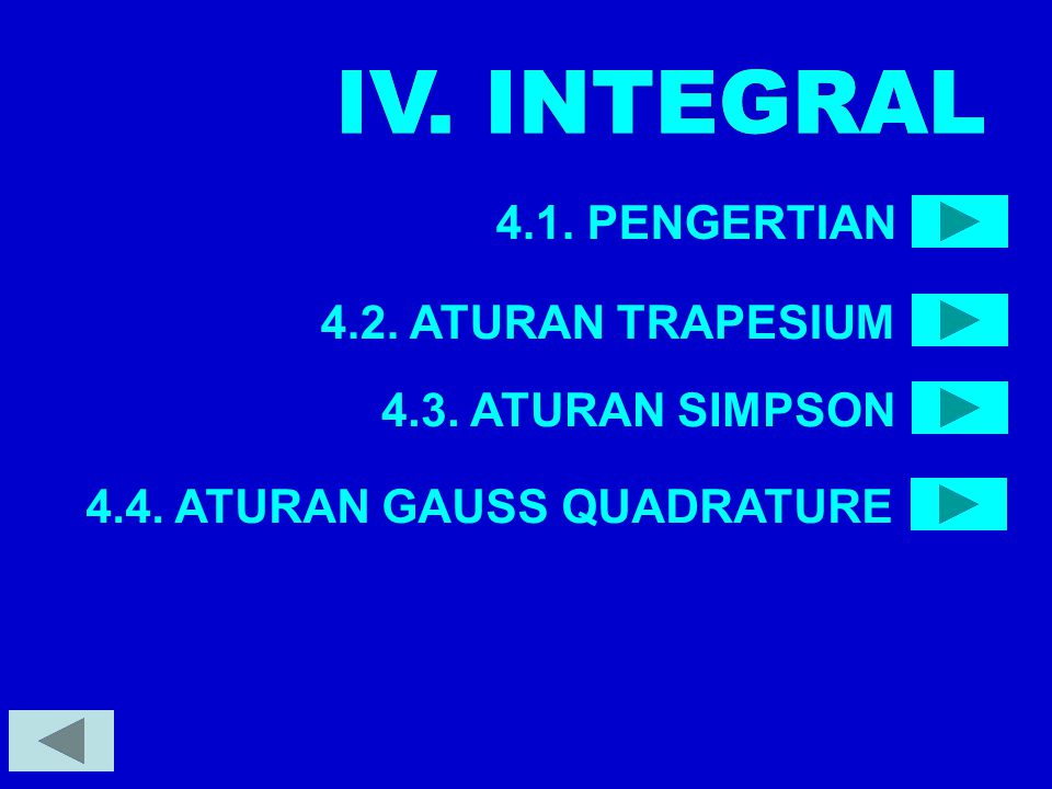 IV. INTEGRAL IV. INTEGRAL 4.1. PENGERTIAN 4.2. ATURAN TRAPESIUM