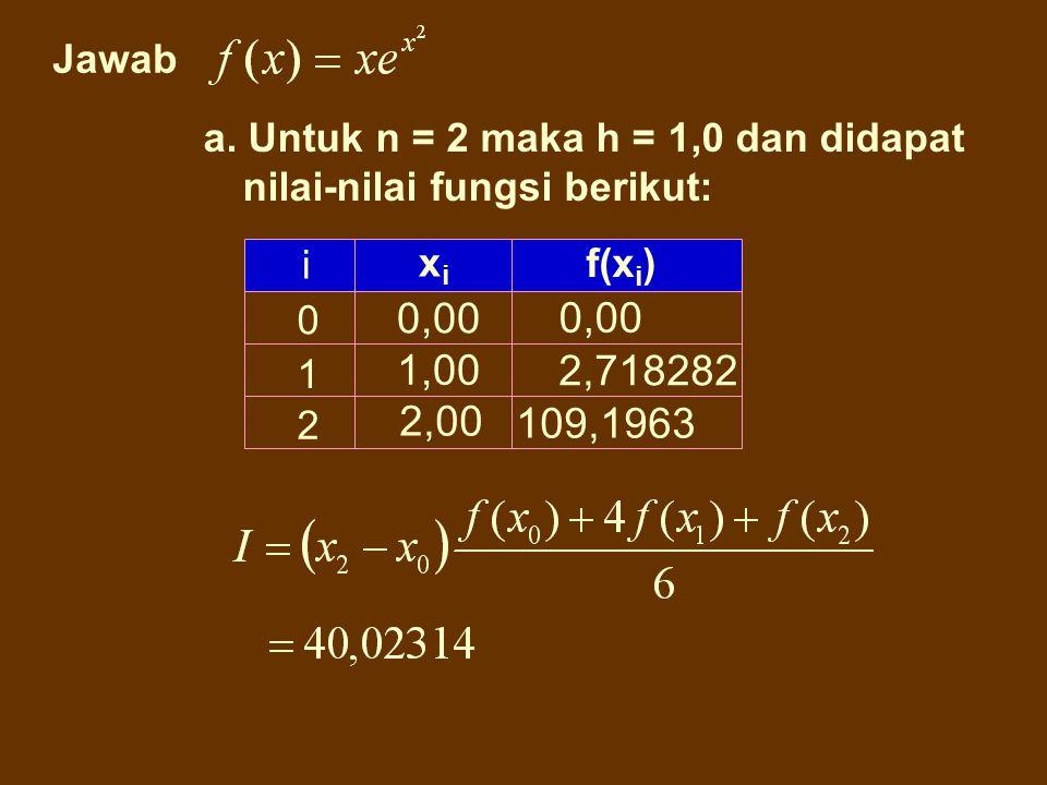 Jawab a. Untuk n = 2 maka h = 1,0 dan didapat nilai-nilai fungsi berikut: i. xi. f(xi) 0,00. 0,00.