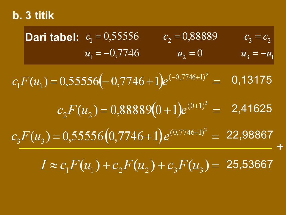 b. 3 titik Dari tabel: 0,13175 2,41625 22,98867 + 25,53667